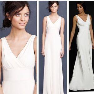 J.Crew Champagne Silk Vneck Sophia dress 8P